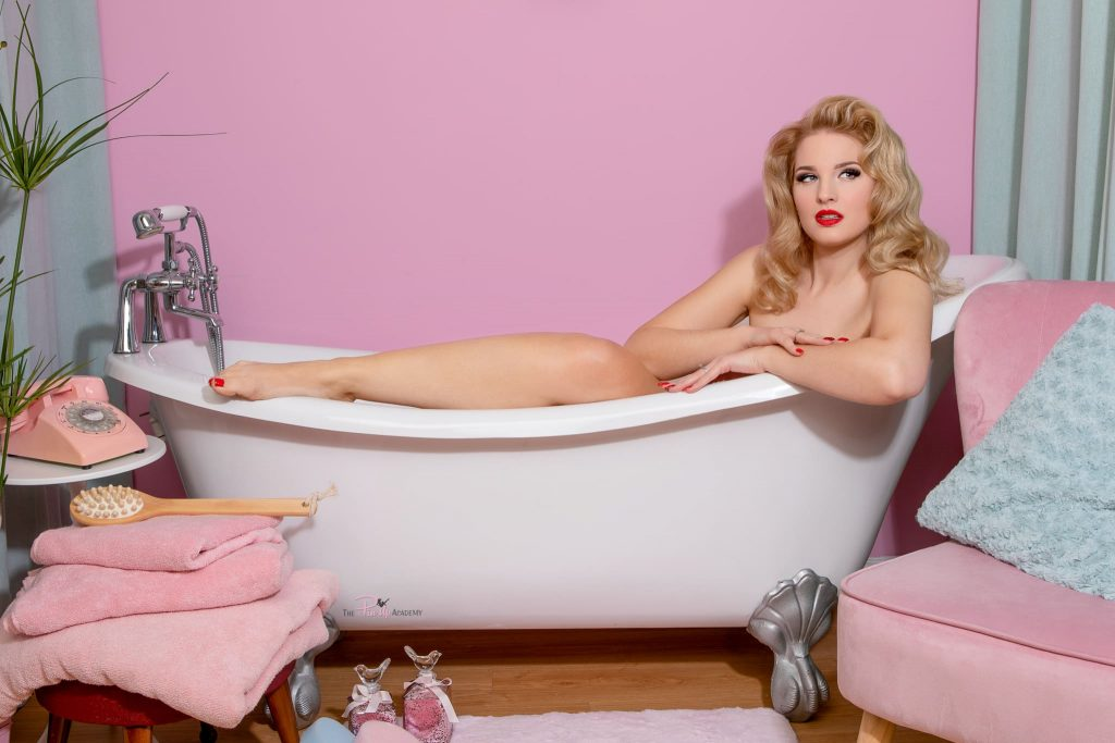 pinup model in bathroom set